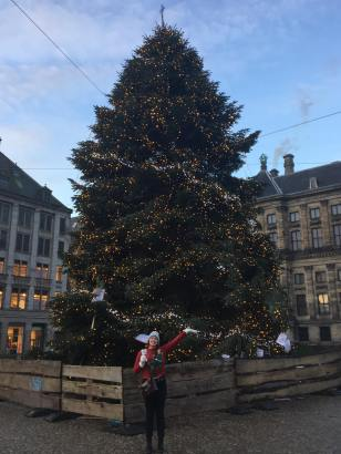 A huge Christmas Tree in Amsterdam
