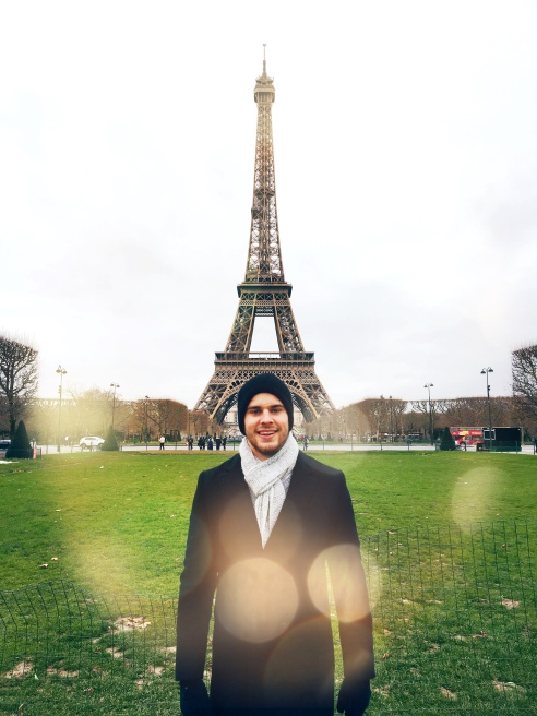 My handsome boyfriend in front of the Eiffel Tower